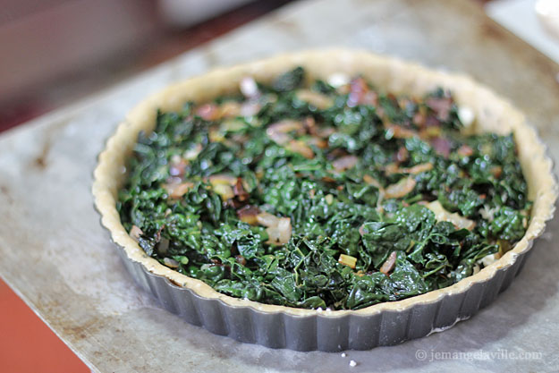 Kale, Feta and Onion Quiche (in an Olive Oil Crust)