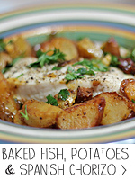 Baked Fish, Potatoes and Spanish Chorizo